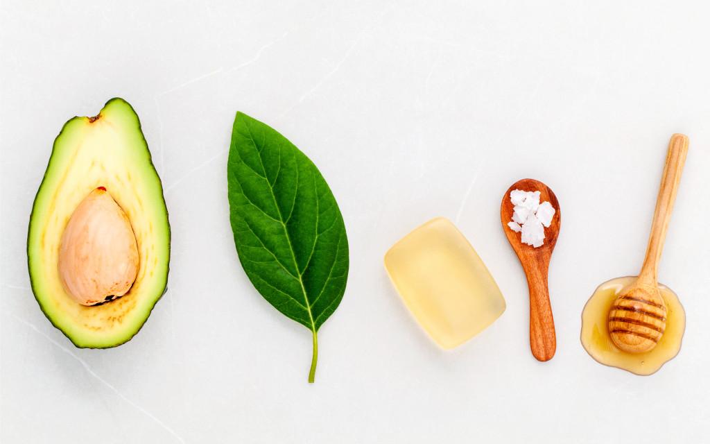 Alternative skin care  and scrub fresh  avocado , leaves ,sea sa