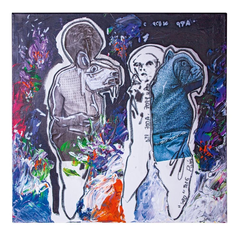 Trois frères, 2016 Acrylique, fusain et pastel sur toile © Archives Musée Dapper – Photo Aurélie Leveau.