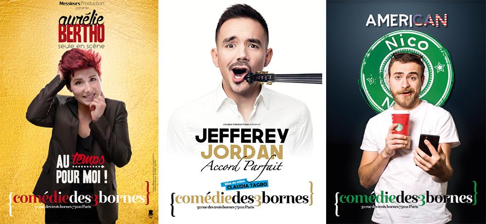 Aurélie Bertho, Nicolas Du Verne et Jefferey Jordan à la Comédie des 3 bornes